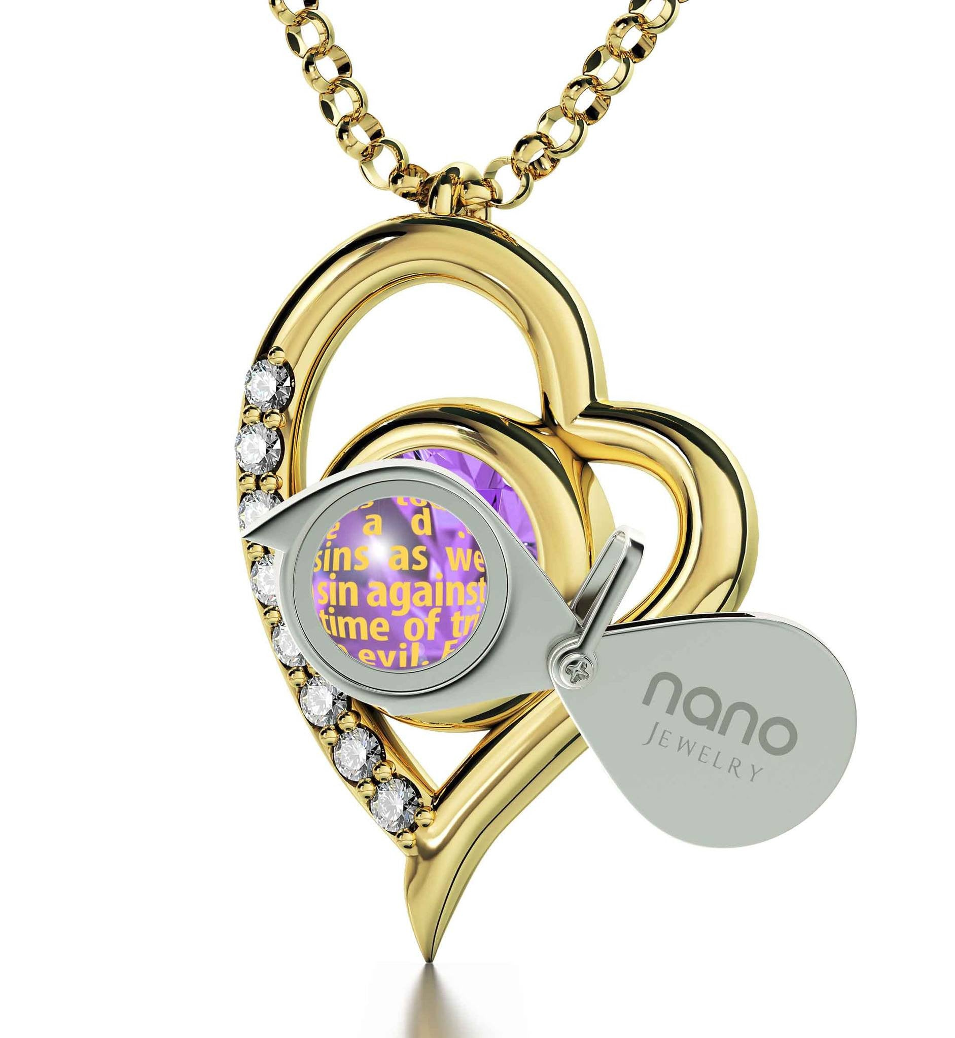 """Lord's Prayer Engraved in 24k Gold, Cute Necklaces for Her, Birthday Present for Best Friend, Meaningful Jewelry"""