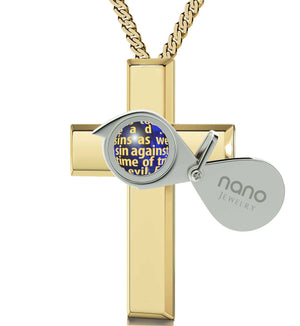 """Lord's Prayer Cross Necklace, Womens Presents, Cool Gifts for Girlfriend, Meaningful Jewelry"""