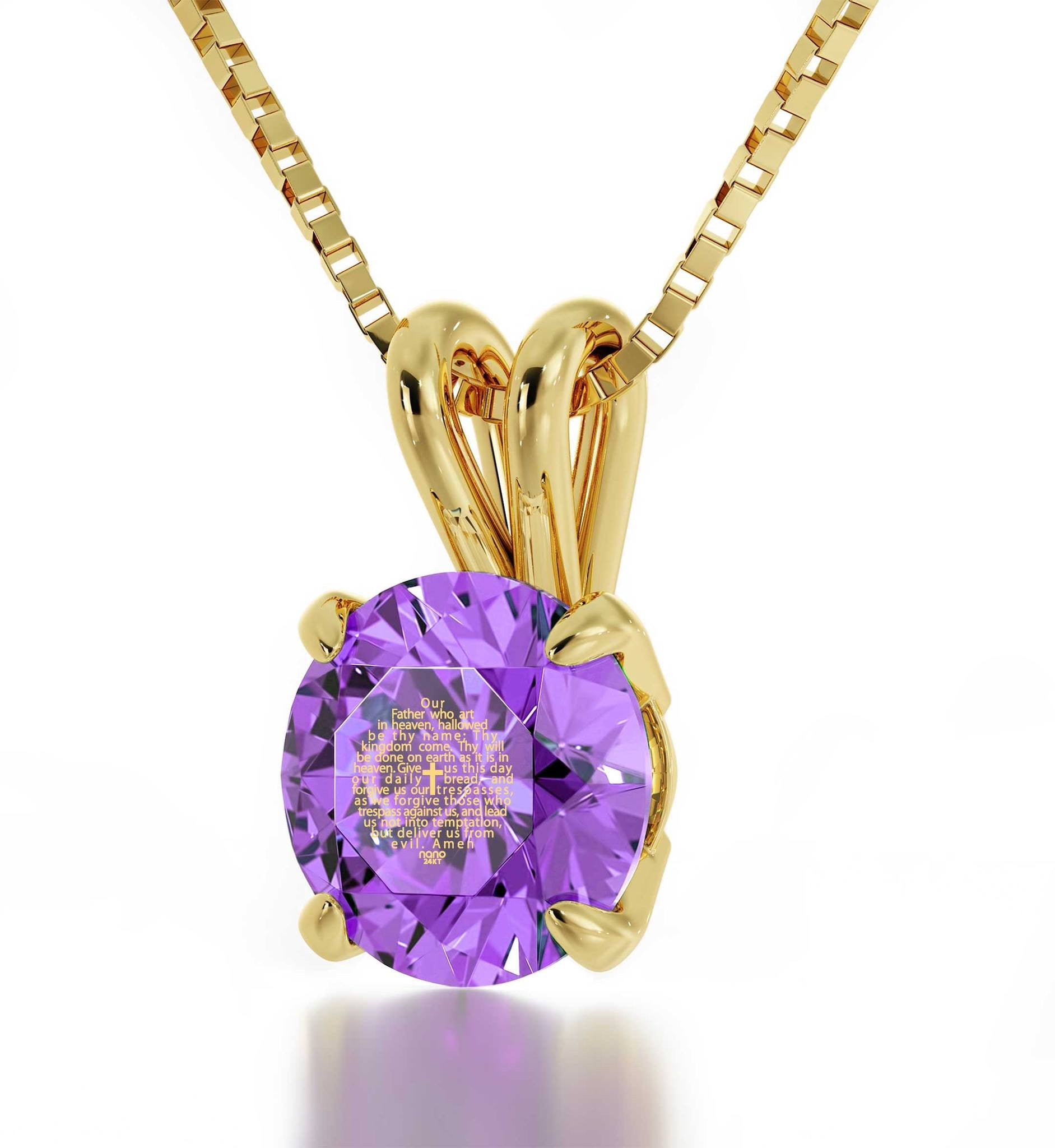 """Lord's Prayer in 24k Gold Imprint,Engraved Necklaces for Her, Gifts for Catholics, Purple Pendant"""