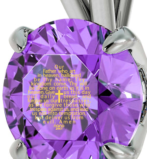 """Lord's Prayer Engraved in 24k Gold, Ladies Xmas Gifts, Scripture Necklaces, Purple Jewelry, Nano"""