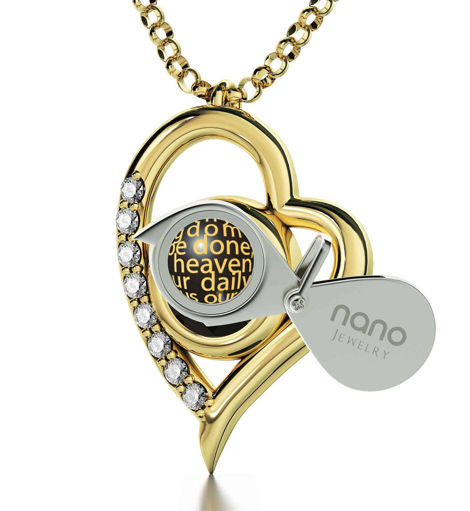 """Lord's Prayer Pendant, Women's Gold Jewelry, Christian Gift Items, Engraved Necklaces, Nano"""