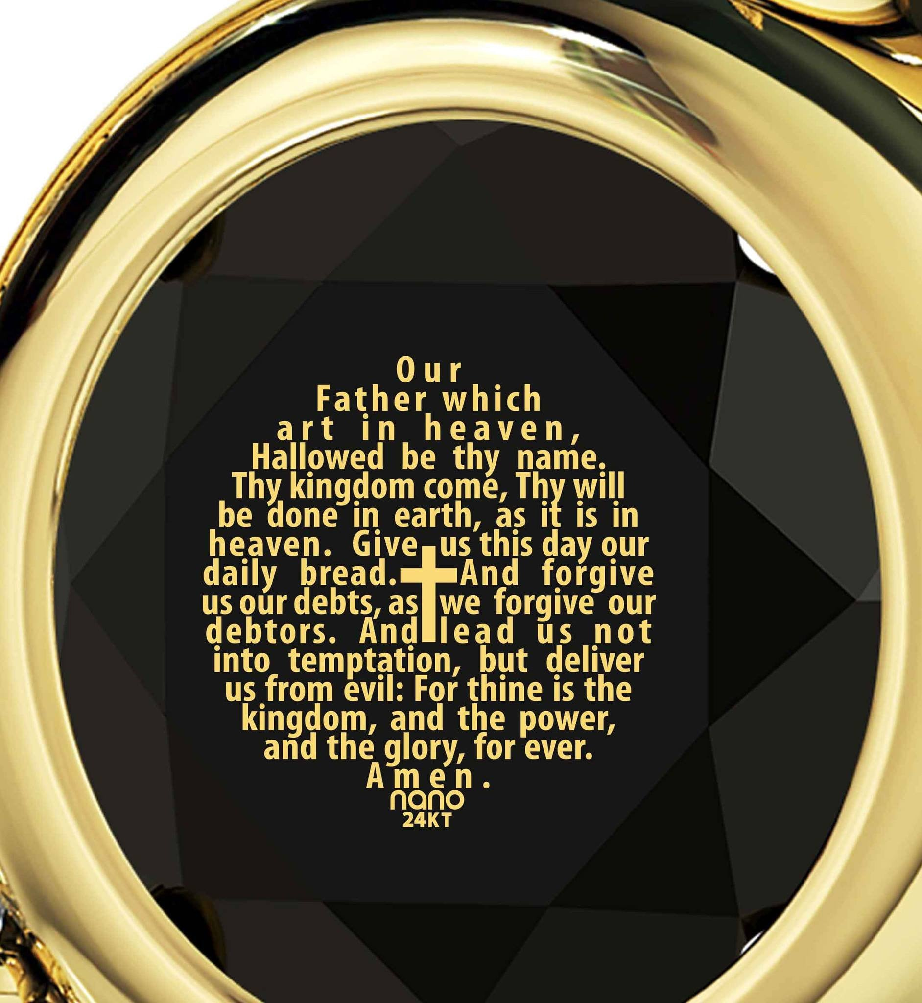 Lord's Prayer in 24k Imprint, Good Presents for Mom, Gold Jewelry for Women, Black Stone Necklace