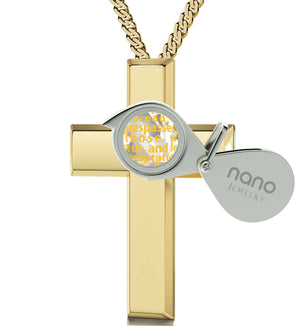 """Lord's Prayer Cross Necklace, Xmas Ideas for Her, Christian Gift Items, Gold Plated Jewellery, Nano"""