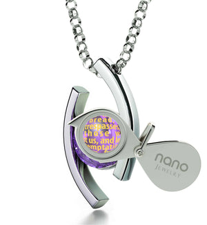 """Lord's Prayer Pendant, Top Womens Gifts, Scripture Necklaces, 14k White Gold Chain, Nano Jewelry"""