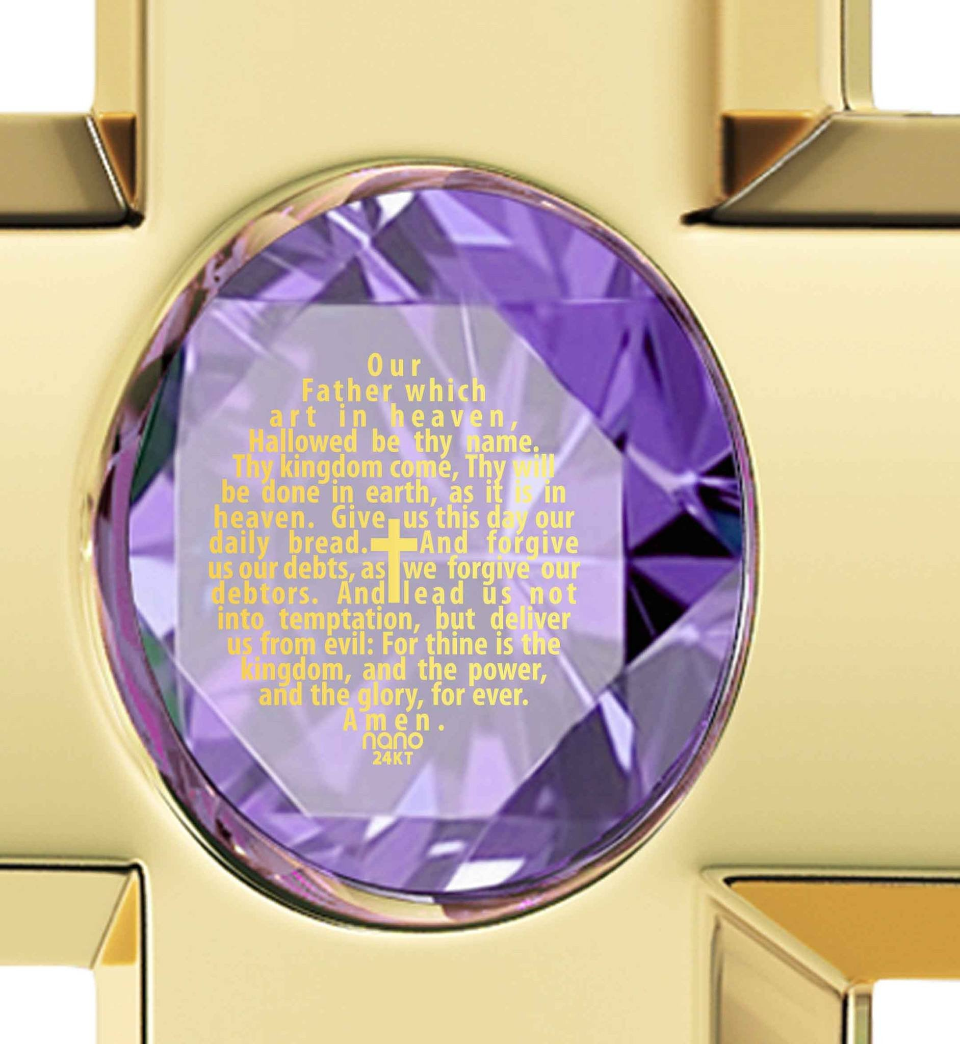 Lord's Prayer In 24k Imprint Special Gifts For Sisters Womens Gold Cross Necklace Purple Pendant