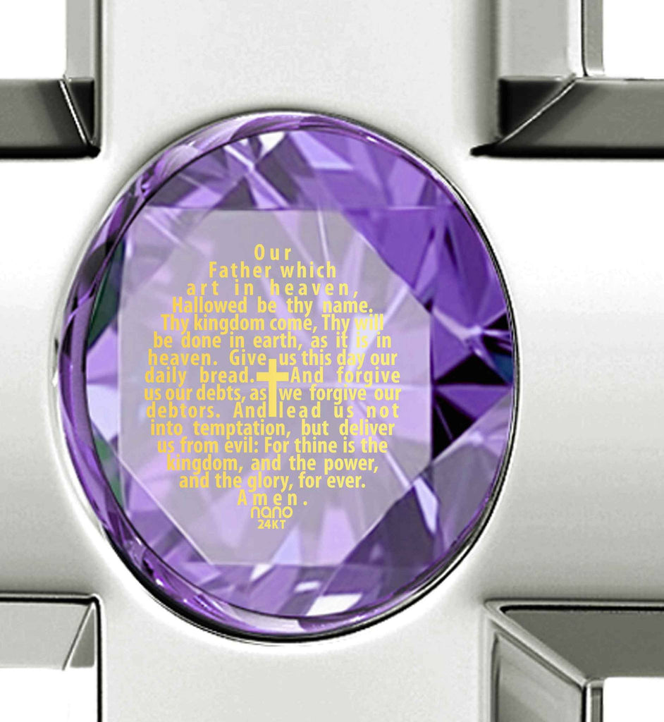 Lord's Prayer in 24k Imprint, Special Gifts for Sisters, Womens Silver Cross Necklace, Purple Pendant