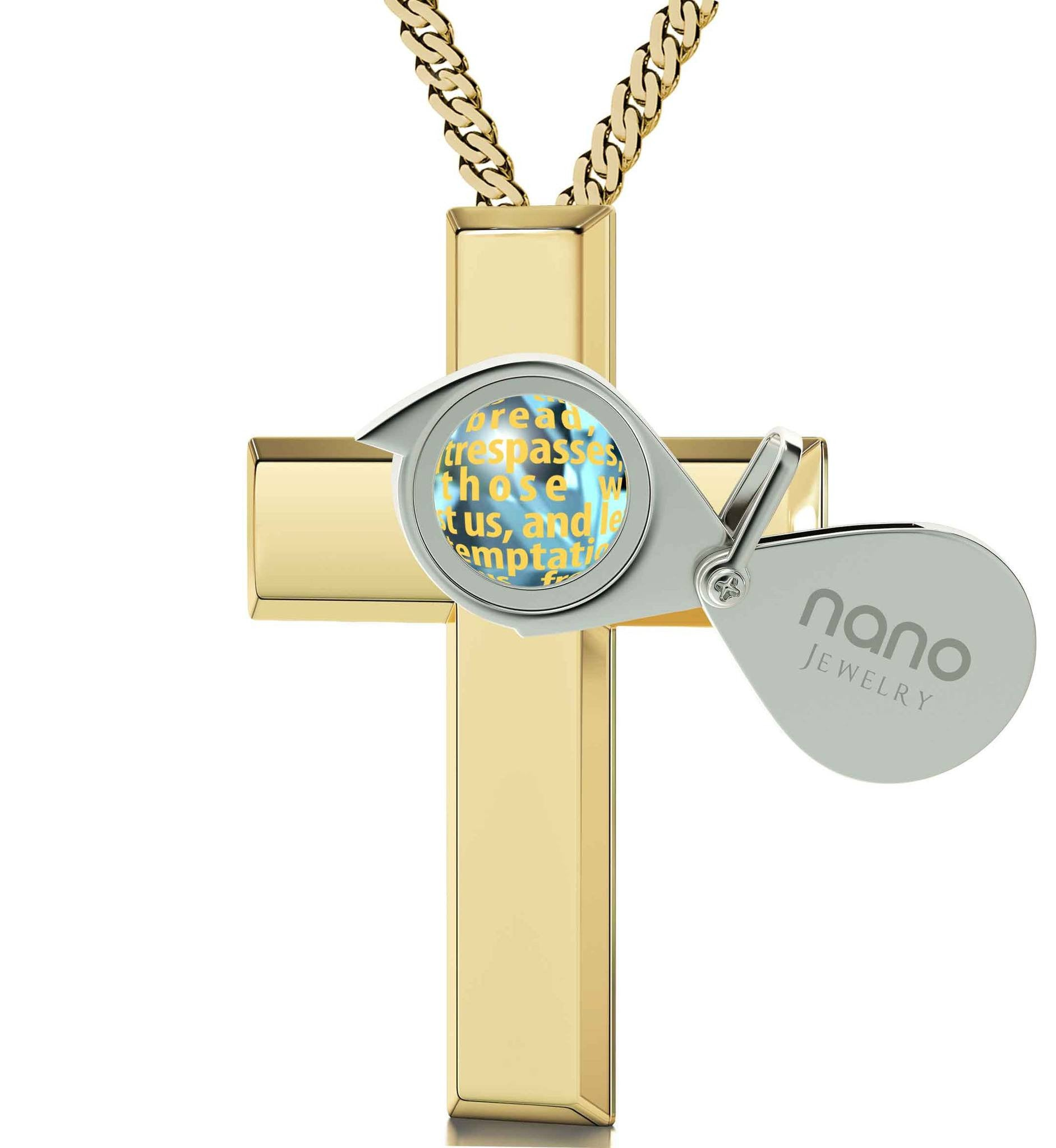 Womens gold cross necklace our father prayer buy now at nano jewelry lords prayer engraved in 24k gold cute necklaces for her christian gift items aloadofball Images