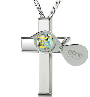 """Lord's Prayer in 24k Imprint, Xmas Ideas for Her, Womens Silver Cross Necklace, Engraved Pendants, Nano Jewelry"""