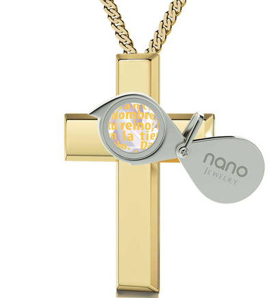 """Lord's Prayer Gold Cross Necklace, Christmas Present Ideas for Best Friend, Special Gifts for Sisters, Nano Jewelry"""