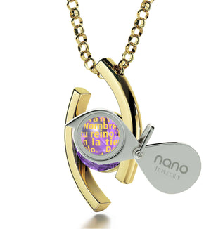 """Unusual Necklace with Padre Nuestro Prayer, What to Get Girlfriend for Birthday, Womens Presents, Nano Jewelry"""