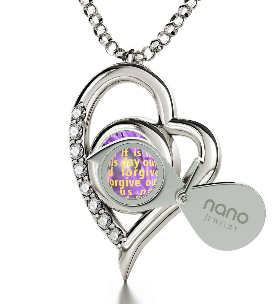 Lord's Prayer King James Version, Silver Chains for Womens, Scripture Necklaces, Purple Pendant, Nano