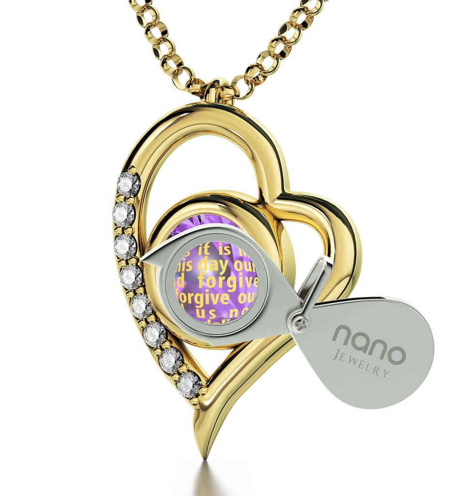 Lord's Prayer King James Version, Women's Gold Jewelry, Scripture Necklaces, Purple Pendant, Nano