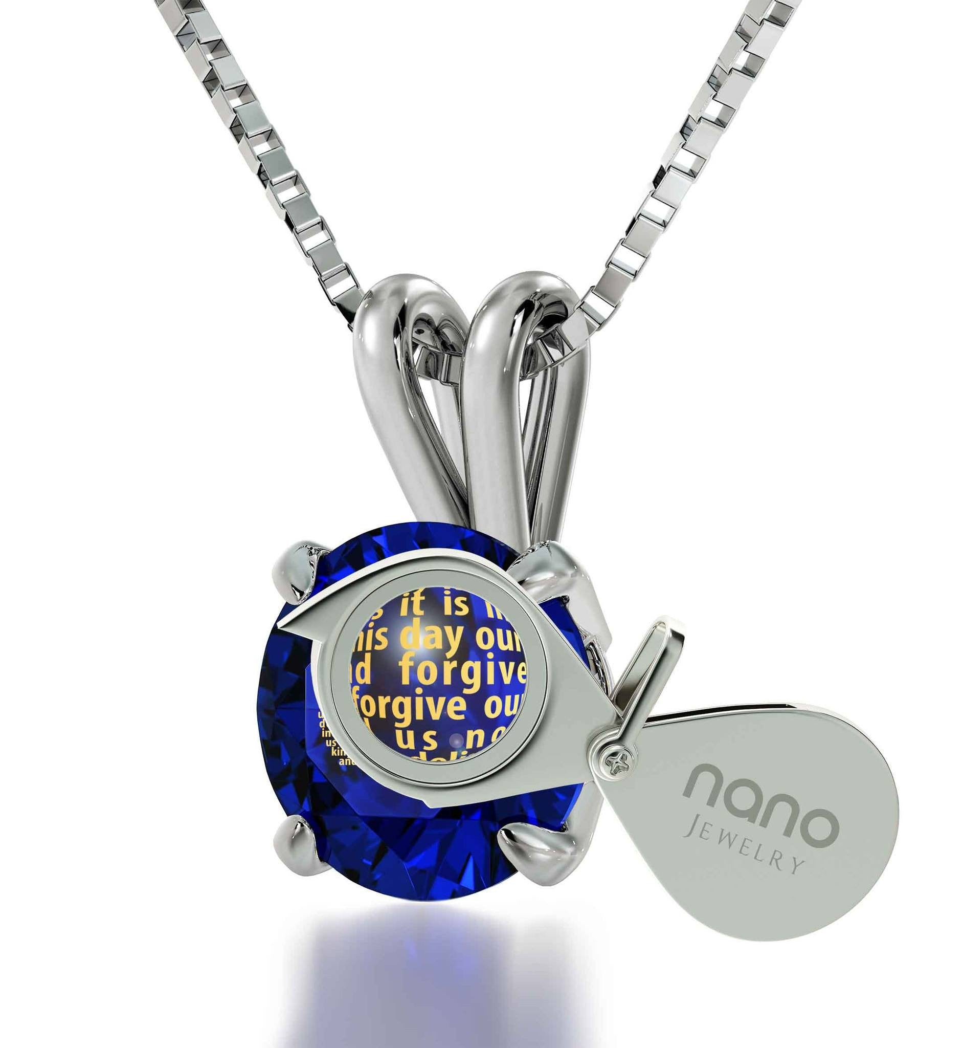 Lord's Prayer Kj, Engraved Necklaces for Her, Blue Stone Jewellery, Christian Pendants, Nano