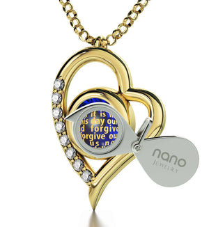 Lord's Prayer Kjv, Engraved Necklaces for Her, Religious Gifts for Women, Gold Jewelry, Nano