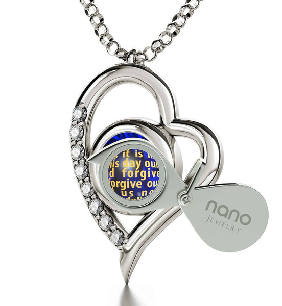 Lord's Prayer Kjv, Engraved Necklaces for Her, Religious Gifts for Women, White Gold Jewellery, Nano