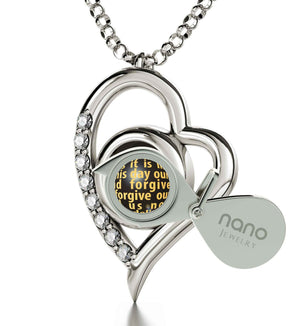 Lord's Prayer Kjv, Gifts for Best Friend Woman, Presents for Sisters, 14k White Gold Necklace