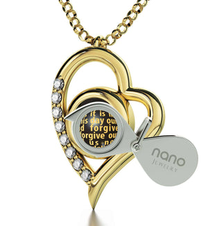 Lord's Prayer Kjv, Scripture Necklaces Gifts for Best Friend Woman, 14kt Gold Necklace