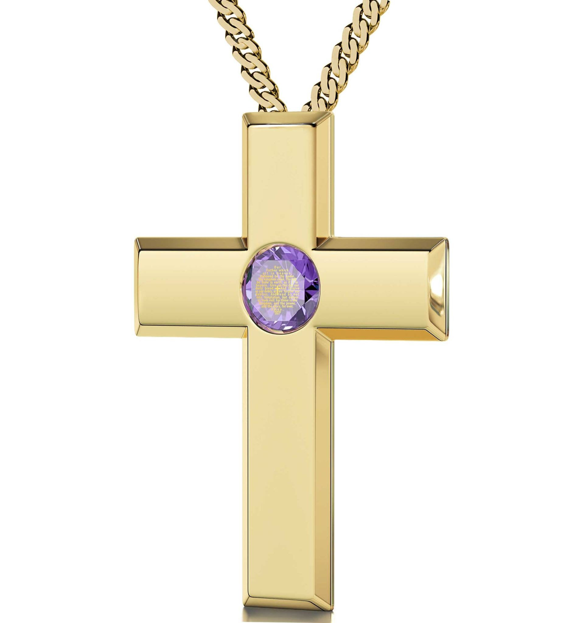 Lord's Prayer Kjv In 24k Imprint Cross Necklace For Girl Gifts For Pregnant Wife Purple Jewelry