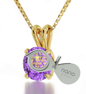 Lord's Prayer Necklace, Good Presents for Mom, Religious Gifts for Women, Purple Pendant