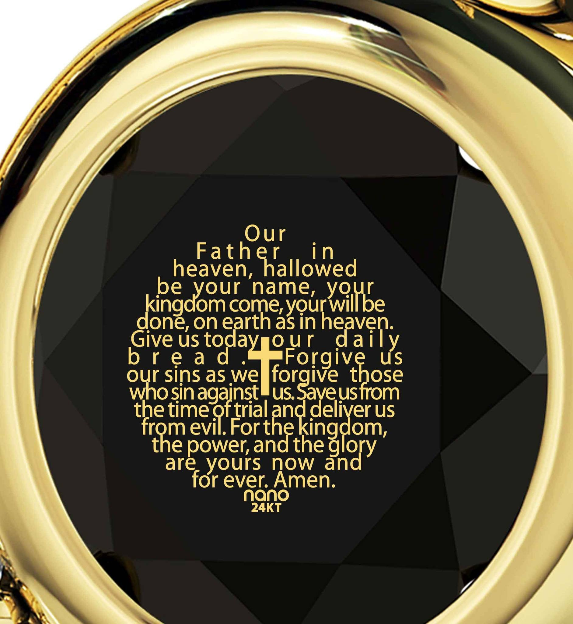"""Lord's Prayer in 24k Imprint, Gold Pendants for Womens, Scripture Necklaces,Jewelry with Meaning"""
