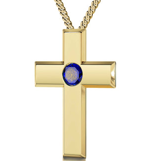 Lord's Prayer Cross Necklace Top Gifts For Wife Good Presents For Girlfriend Aquamarine Jewelry