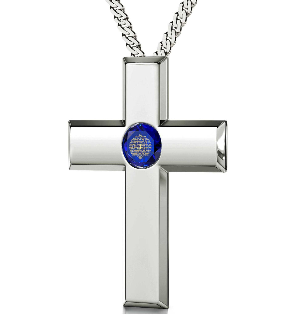 Lord's Prayer Cross Necklace, Top Gifts for Wife, Good Presents for Girlfriend, Aquamarine Jewelry