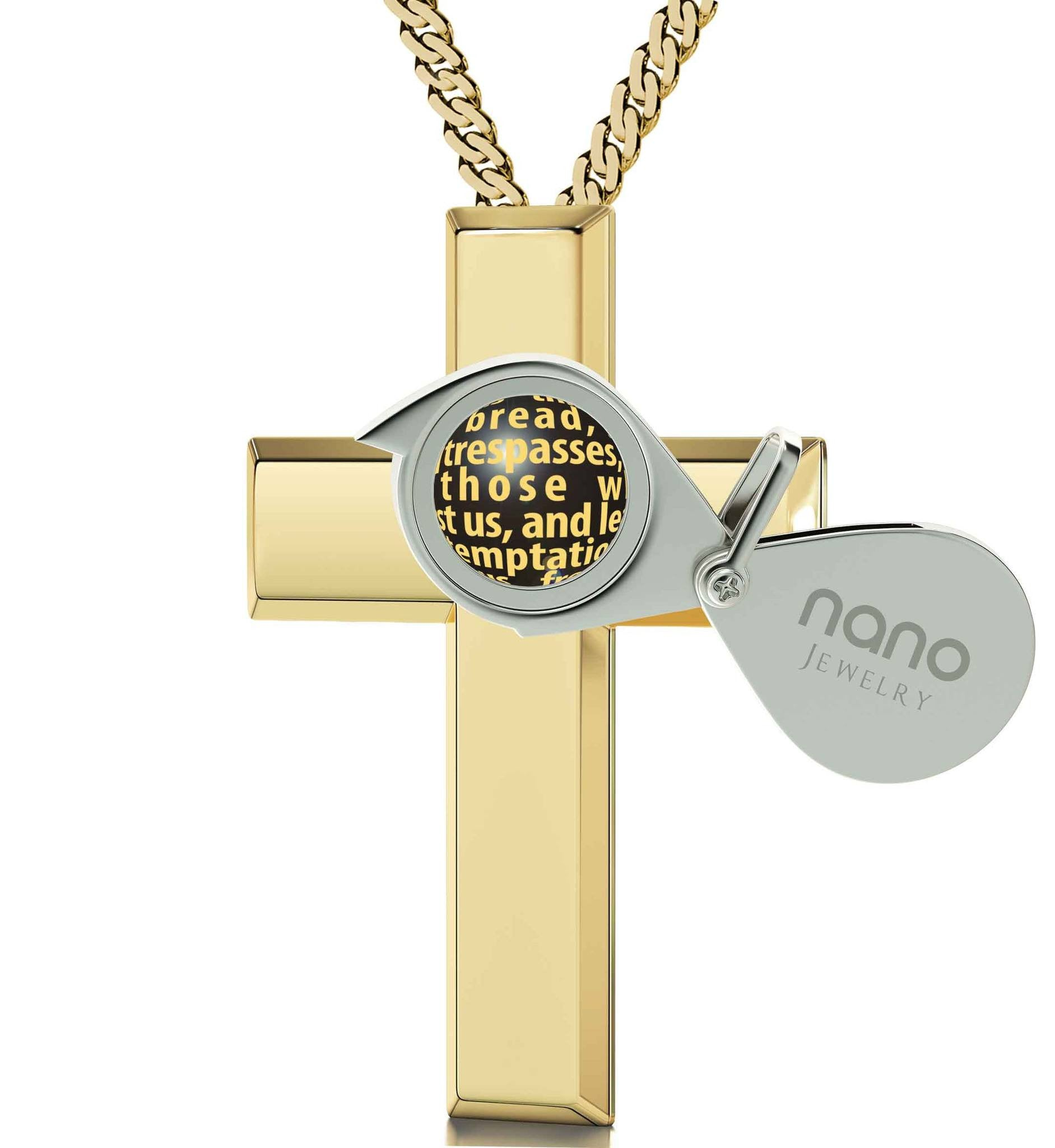 Womens Gold Cross Necklace, Our Father Prayer. Buy Now at Nano Jewelry