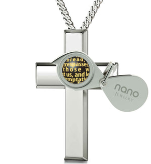 """Lord's Prayer Cross Necklace, Xmas Ideas for Her, Christian Gift Items,Rhodium Jewellery, Nano"""