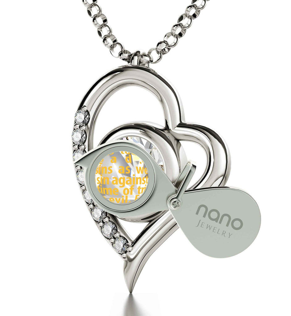 """Lord's Prayer for Children, Good Presents for Mom, Scripture Necklaces, 14k White Gold Chain"""