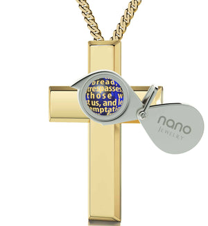 """Lord's Prayer Engraved in 24k Gold, Cute Necklaces for Her, Christian Gift Items, CZ Jewellery"""