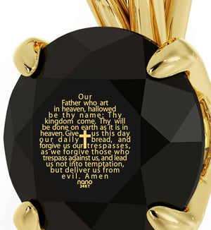 """Lord's Prayer in 24k Gold Imprint, Christmas Ideas for Mum, Christian Jewelry for Women, 14kt Gold Necklace"""