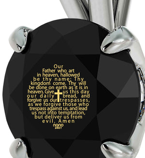 """Lord's Prayer in 24k Gold Imprint, Christmas Ideas for Mum,Christian Jewelry for Women, 14k White Gold Necklace"""