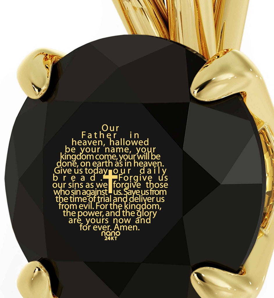 """Lord's Prayer Engraved in 24k Gold, Top Womens Gifts, Birthday Present for Best Friend, Meaningful Jewelry"""