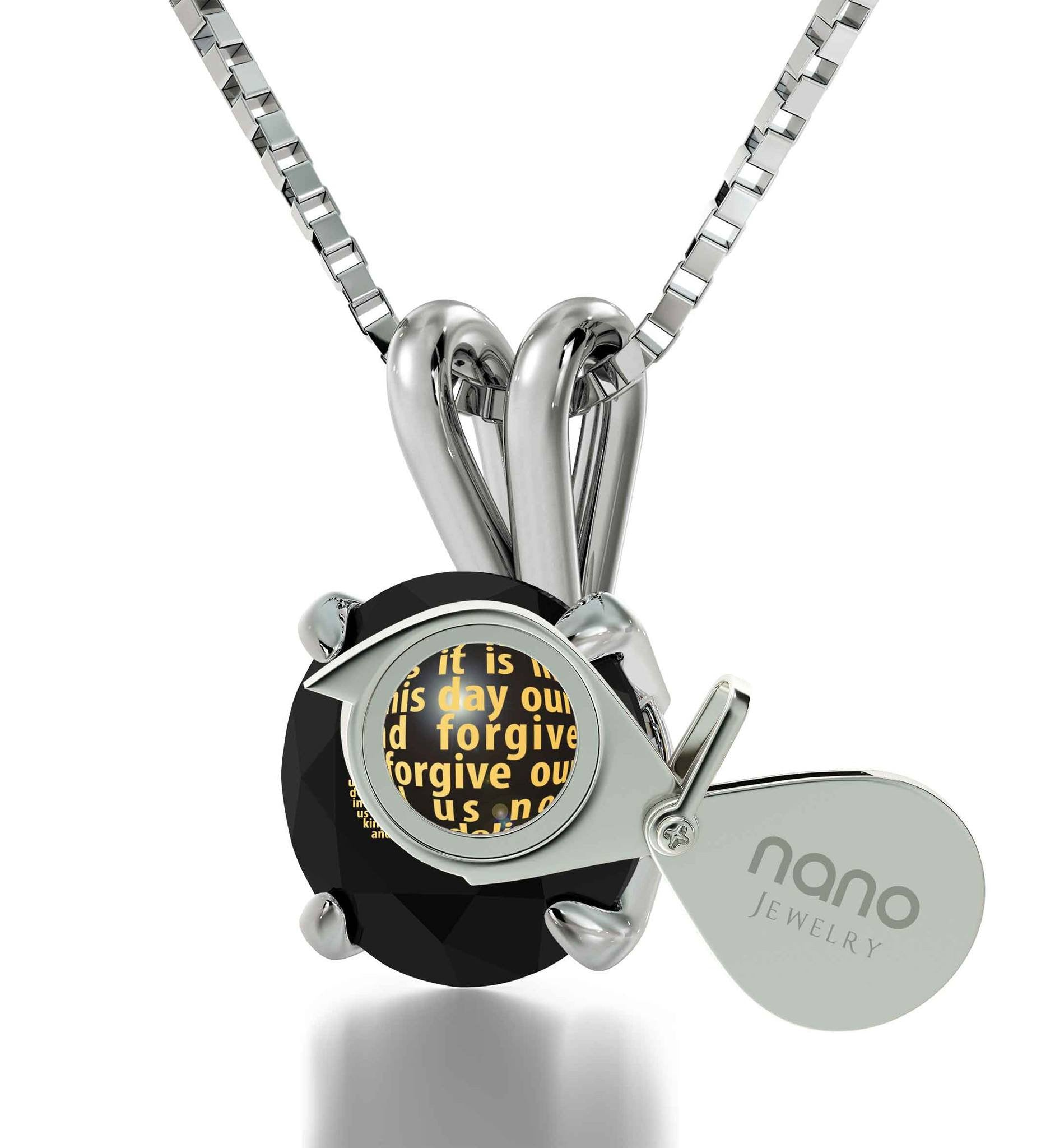 Lord's Prayer Pendant, Womens Presents, Christian Gift Items, Black Stone Necklace, Nano Jewelry