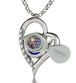 """Lord's Prayer Pendant, Mum Birthday Present, Christmas Gifts for Mother in Law, 14k White Gold Necklace"""