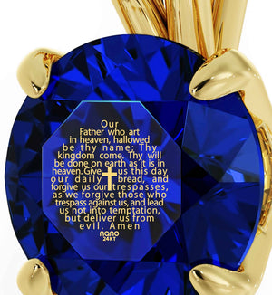 """Lord's Prayer Engraved in 24k Gold, Mum Birthday Present, Blue Stone Jewellery, Religious Gifts for Women"""