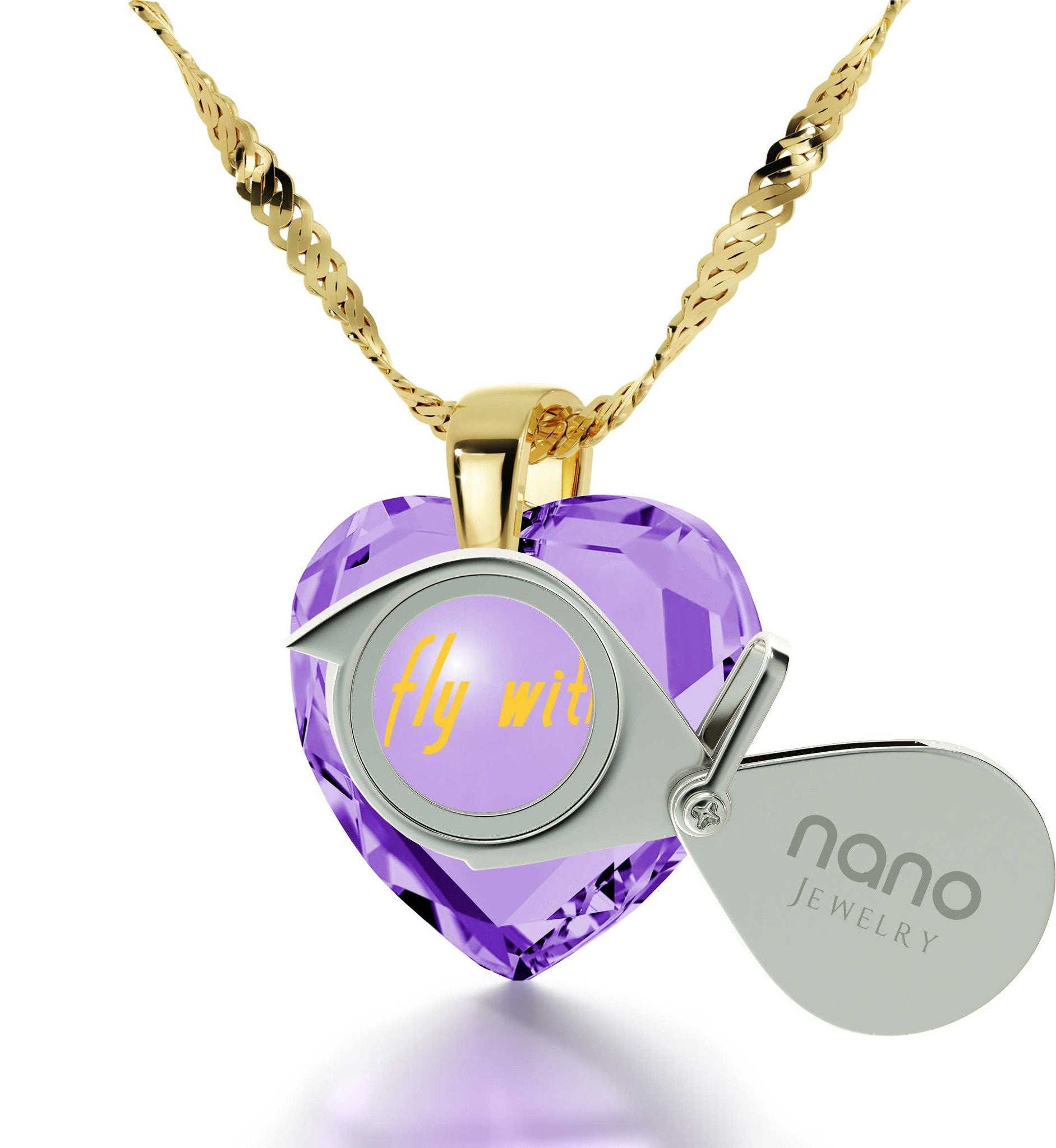 """Best Christmas Present for Girlfriend, ""I Wanna Fly with You"", CZ Purple Heart, Wife Birthday Gift Ideas, by Nano Jewelry """