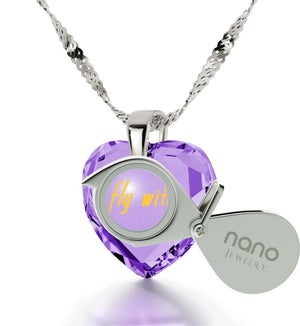 """""I Wanna Fly with You"" Engraved In 24k Gold, Cubic Zirconia Amethyst Necklace, Anniversary Gift Idea for Her"""