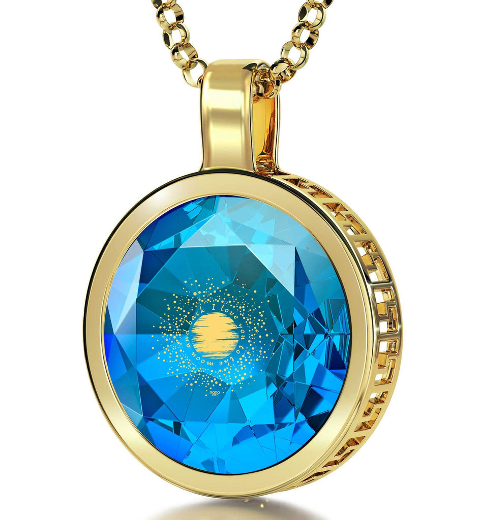 """Xmas Gifts for the Wife, 24k Engraved Pendant, CZJewellery,CutePresents for Girlfriend, Nano """