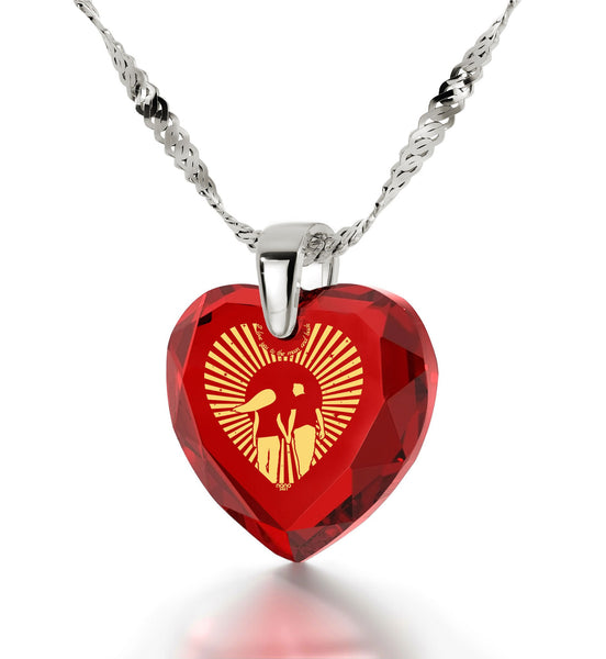 """Heart Necklaces for Girlfriend, 24k Engraved Pendant,Sterling SilverJewelry, Valentines Day Ideas for Her, Nano """