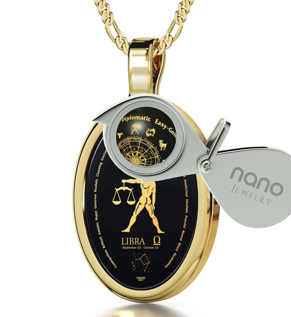 Man Gifts for Christmas: Libra Characteristics, Zodiac Sign Necklace, Valentines Presents for Him by Nano Jewelry