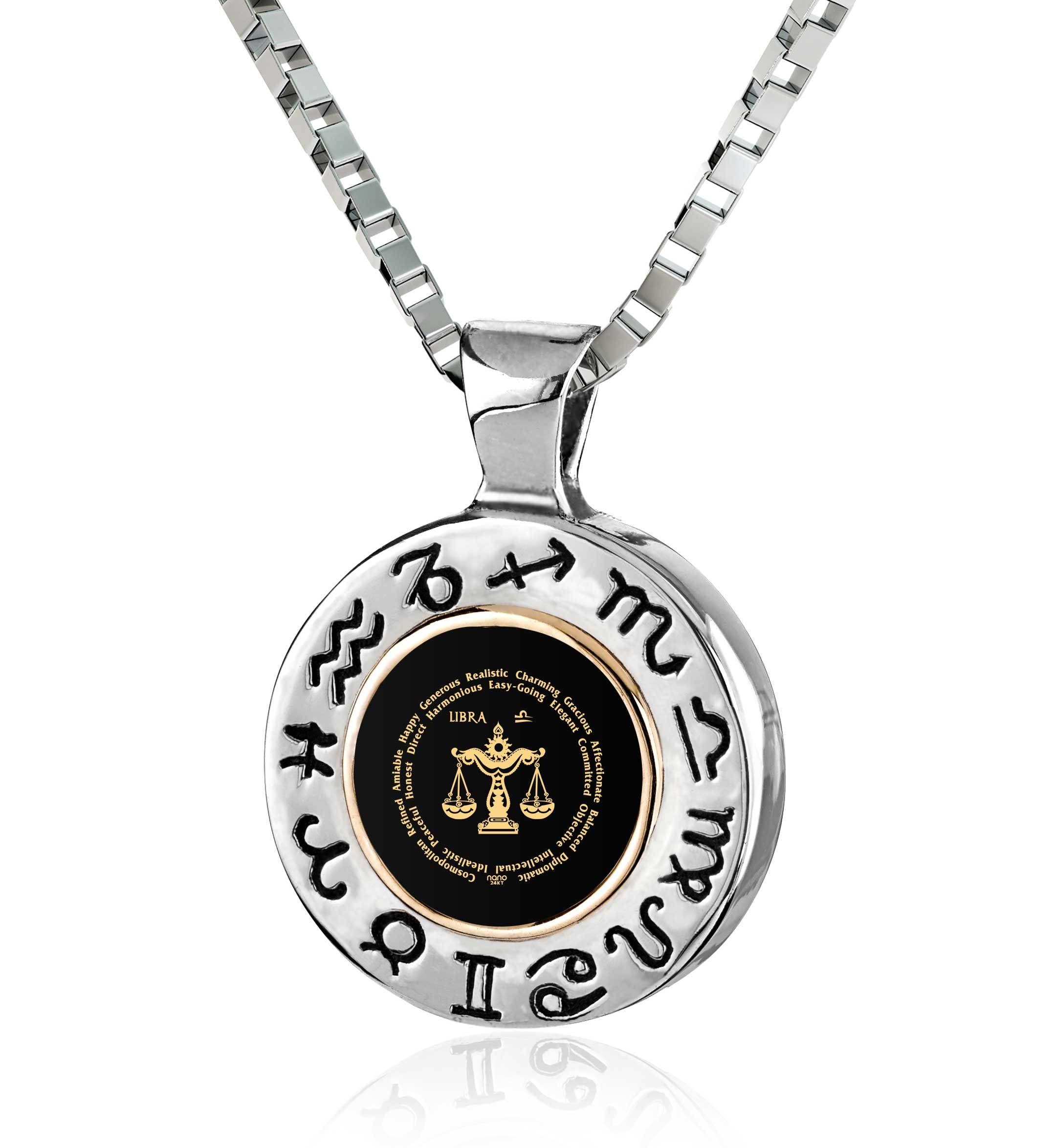 charm yellow gold hires of london links vermeil en gb zodiac necklace libra