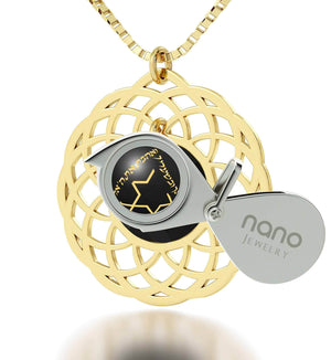 "Mandala Jewelry with ""Shema Yisrael"" Engraved in 24k, Israel Necklace with Black Onyx Stone, Judaica Gifts, Nano Jewelry"