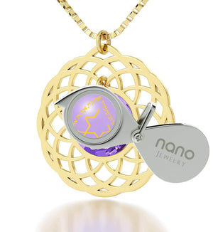 "Mandala Necklace with ""Shema Yisrael"" Engraved in 24k, Judaica Jewelry with Swarovski Purple Stone, Jewish Charms"