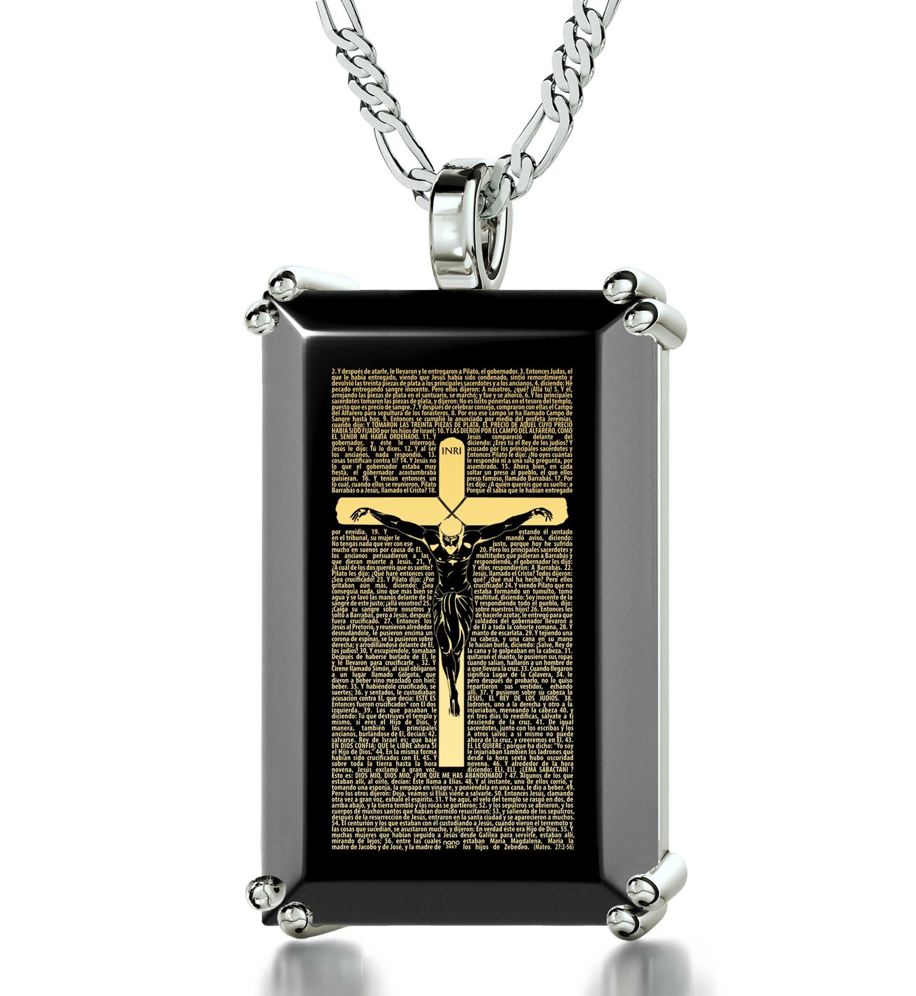"""Mateo27:2-56EngravedinPendant, ChristmasPresents for BestFriends, MensChristianJewelry, OnyxNecklace"""