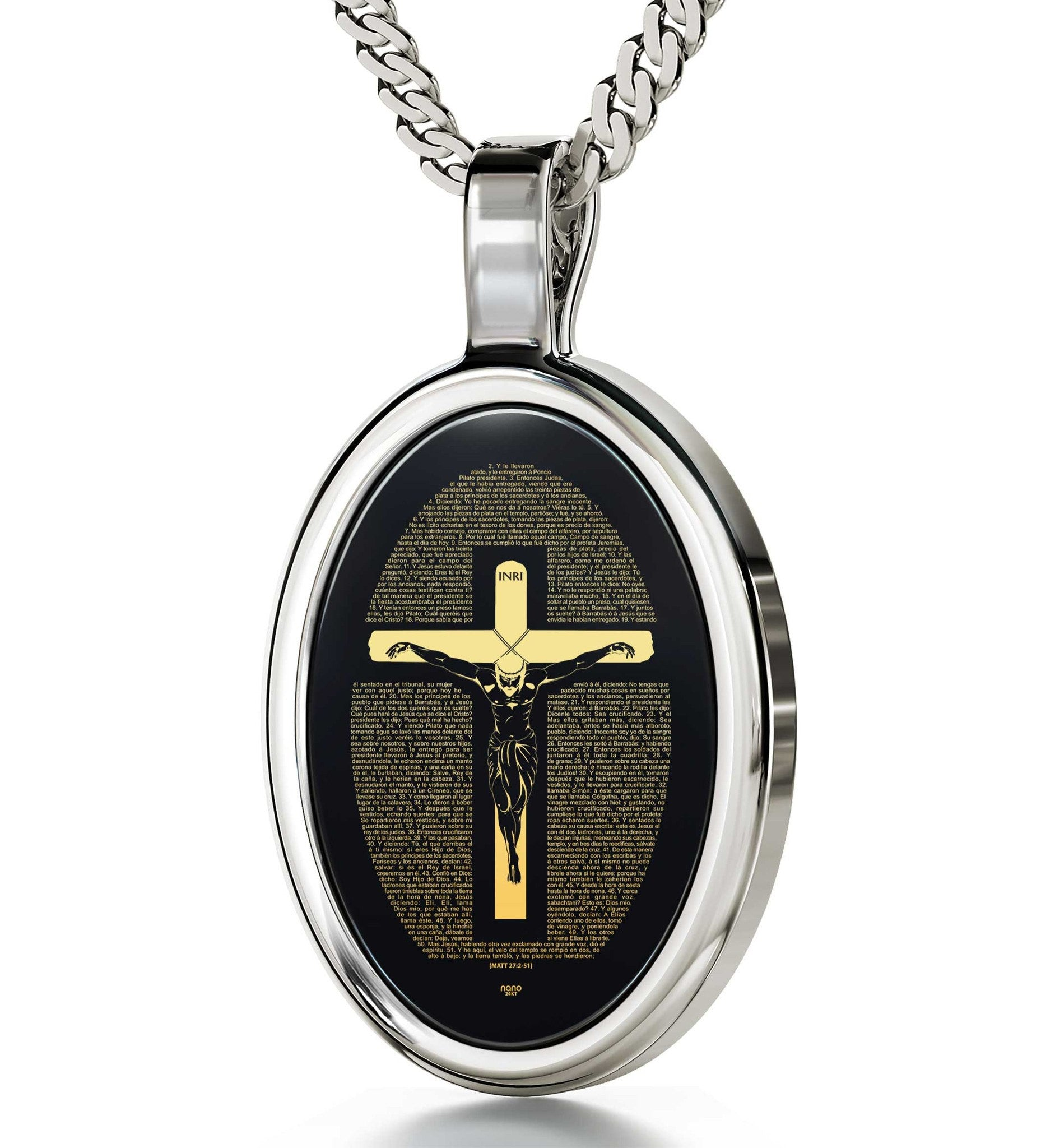 """Matthew 27:2-51EngravedinSpanish, 30th BirthdayPresentIdeas,GiftsforGraduates, Black Stone Necklace, Nano Jewelry"""