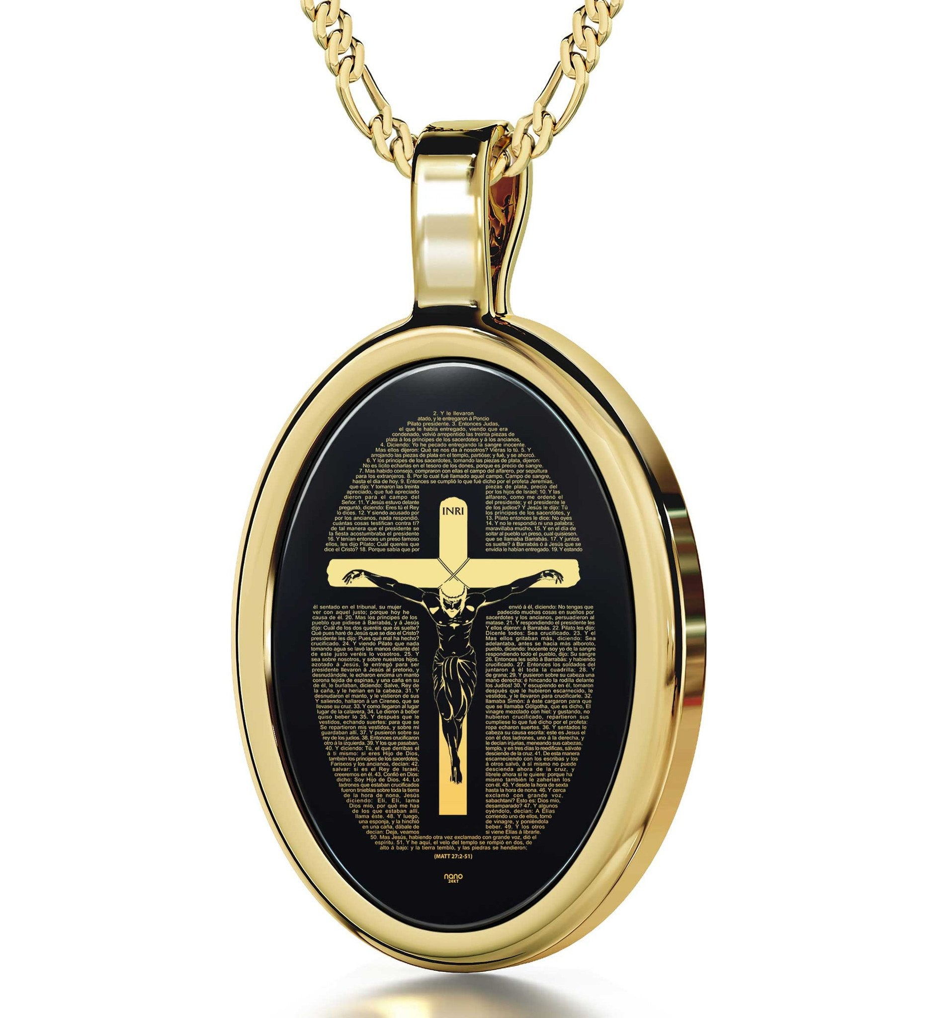 """Matthew 27:2-51 Engravedin Spanish, Unusual Xmas Gifts, Catholic Store Online, Black Stone Necklace, Nano Jewelry  """