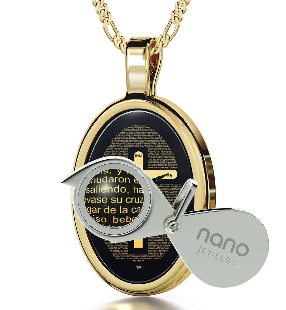 """Mateo 27: 2-51 Engraved in 24k, Unusual Xmas Gifts, Catholic Store Online, Black Stone Necklace, Nano Jewelry"""