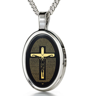 """Matthew27:2-56Engravedin 24k, What to Get for Father'sDay, UniqueMensGifts, BlackStoneNecklace, NanoJewley"""
