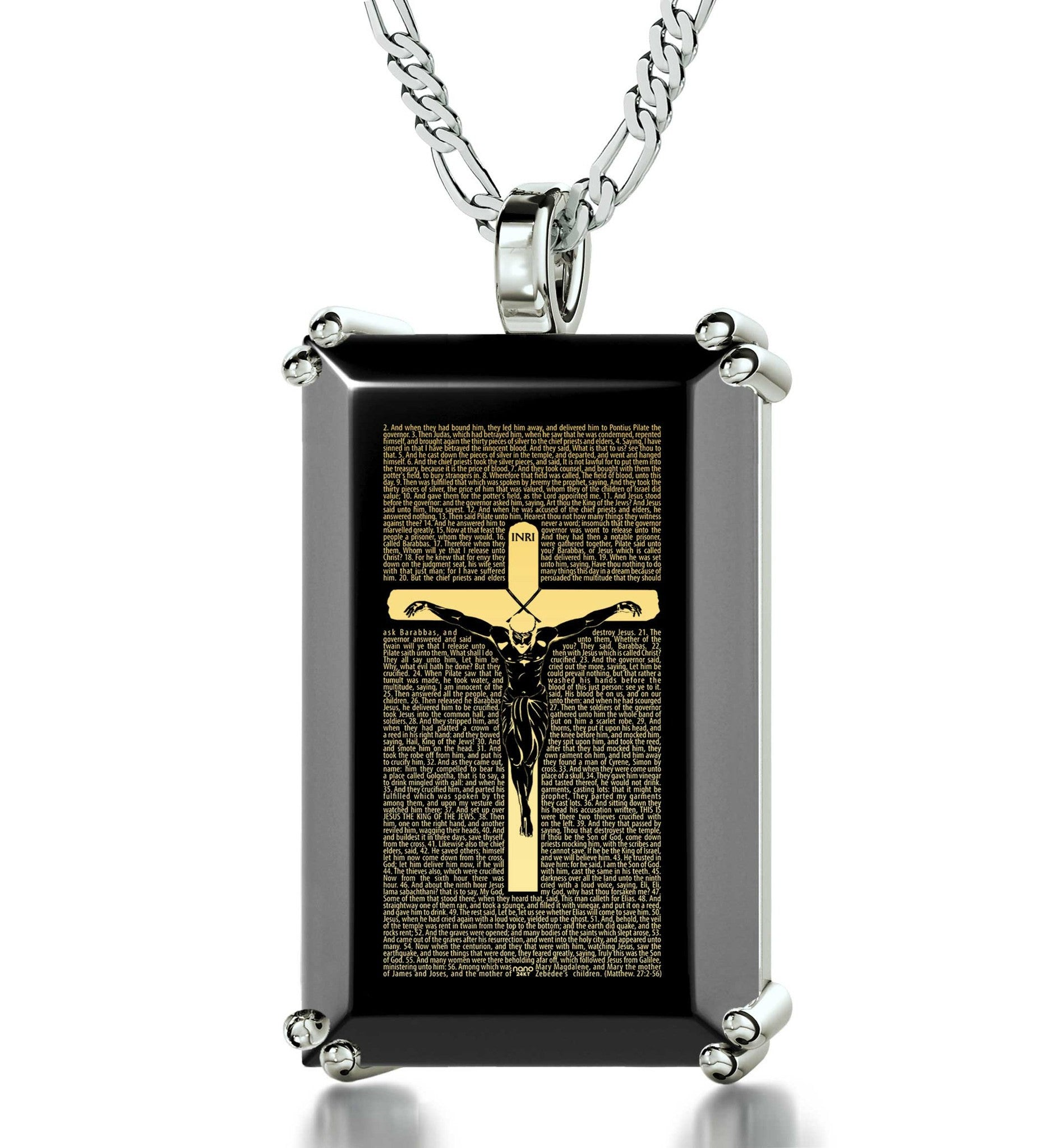 """Matthew27:2-56EngravedinPendant, CutePresents for Boyfriend, GreatGifts for Him, BlackStoneNecklace"""